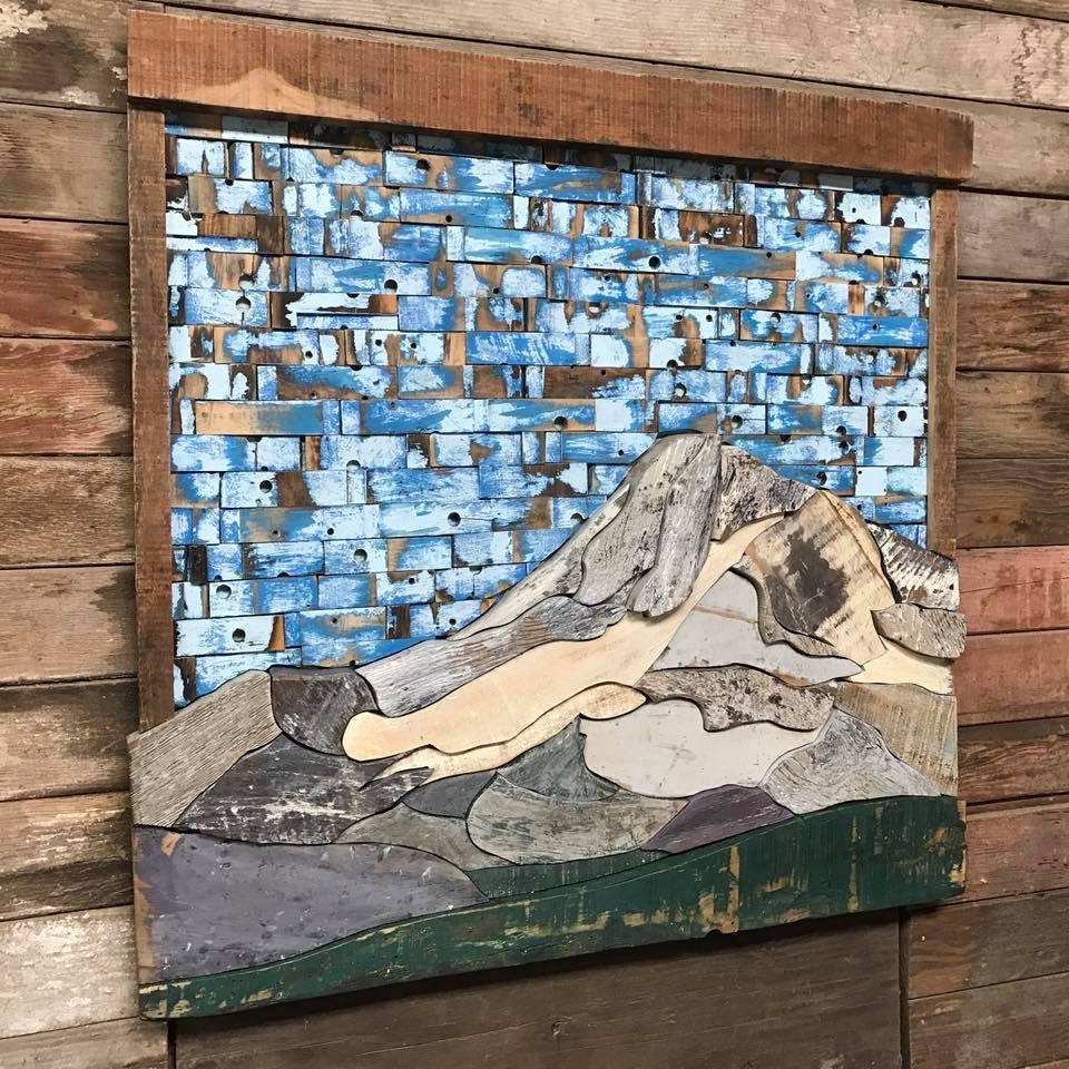 picture of mt hood wood painting