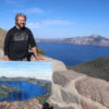 Leonard with painting in front of crater lake