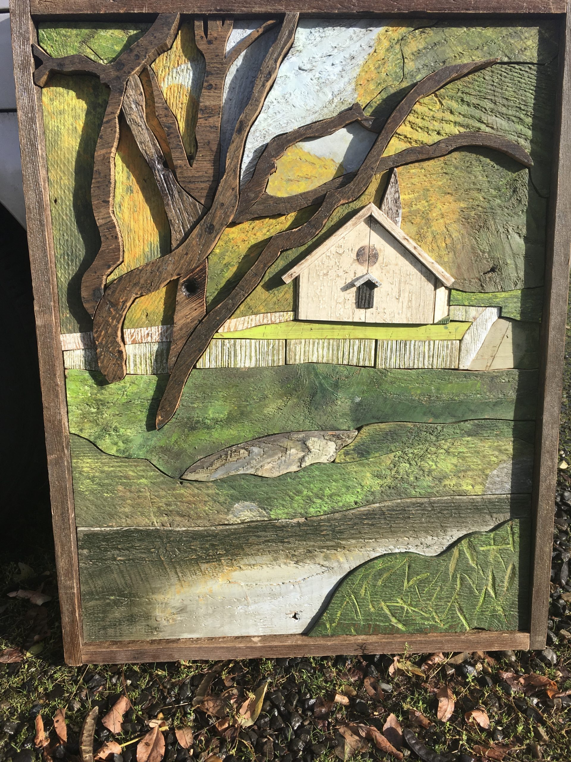 wood painting of westmont college chapel