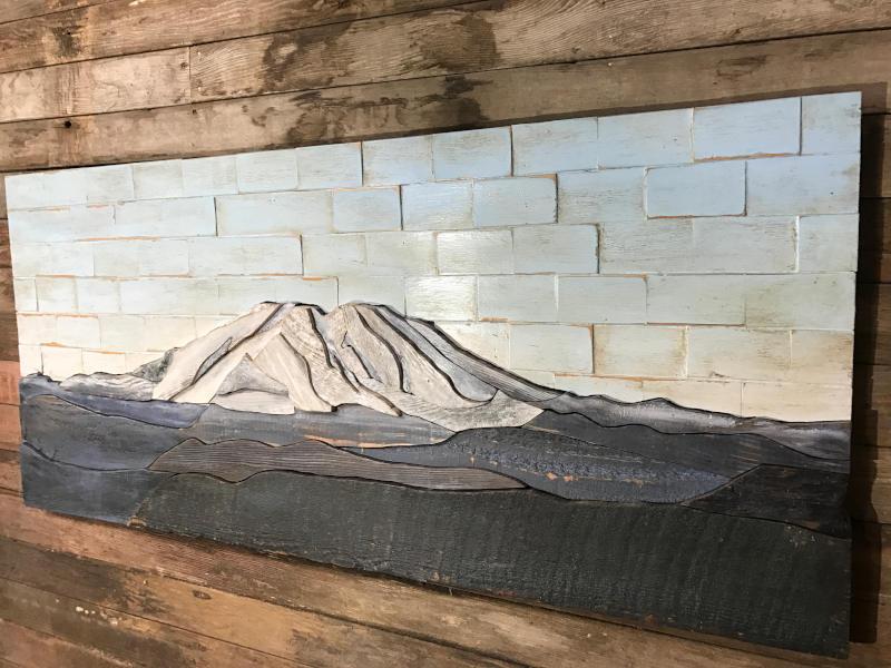 mt saint helens wood painting