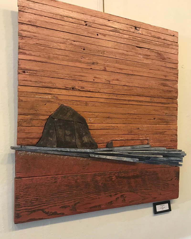 haystack rock wood painting