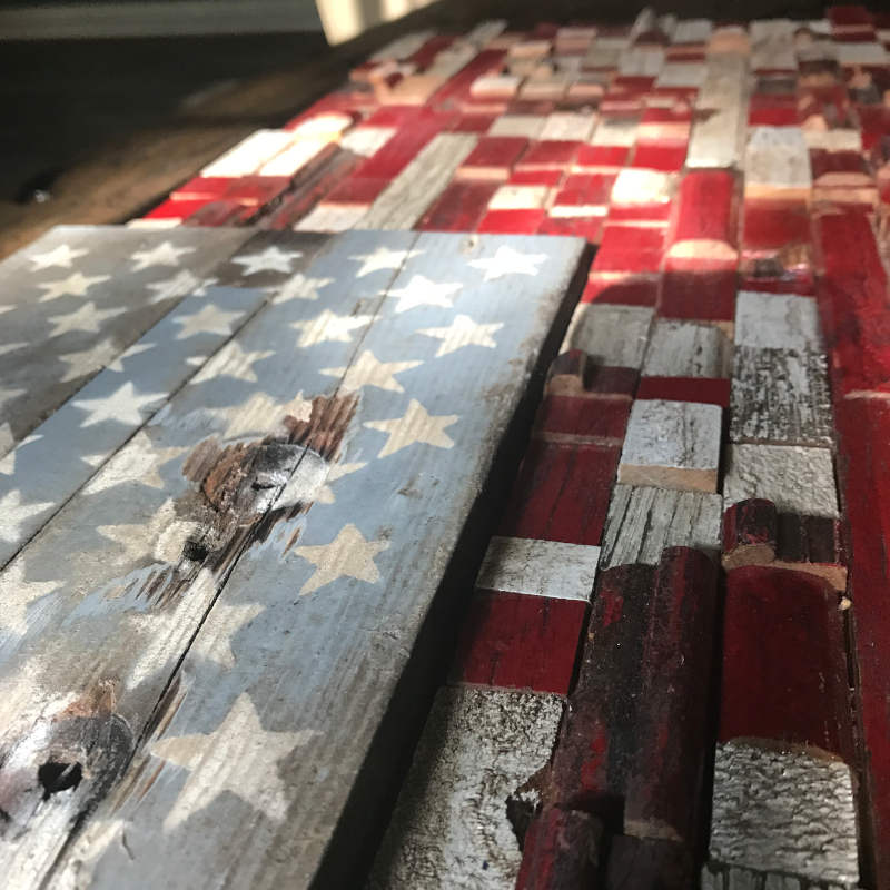 close up of wooden american flag