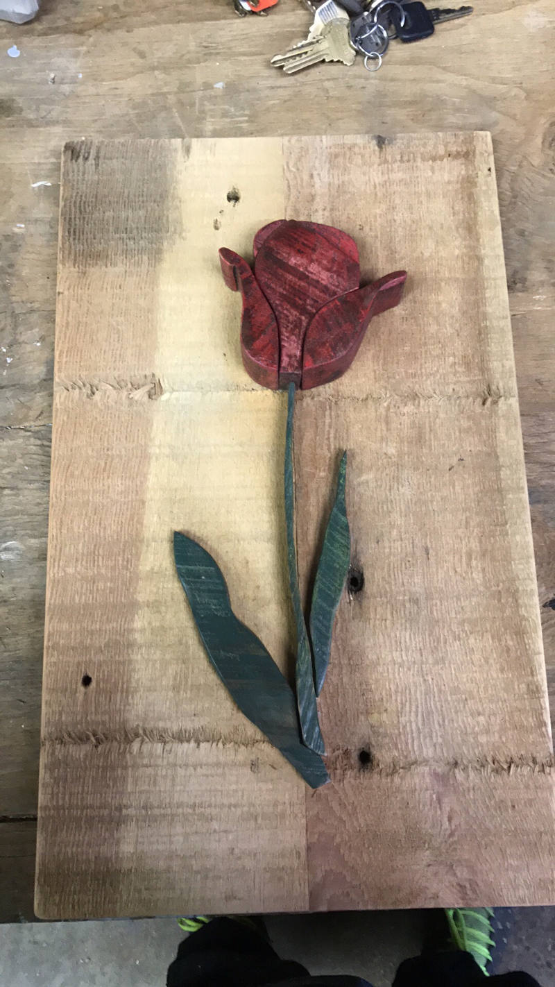 picture of wooden flower painting